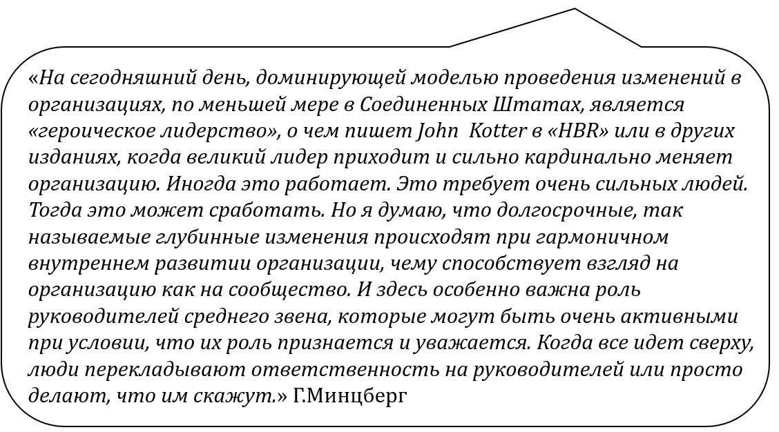 Г.Минцберг о Дж.Коттере и лидерских изменениях