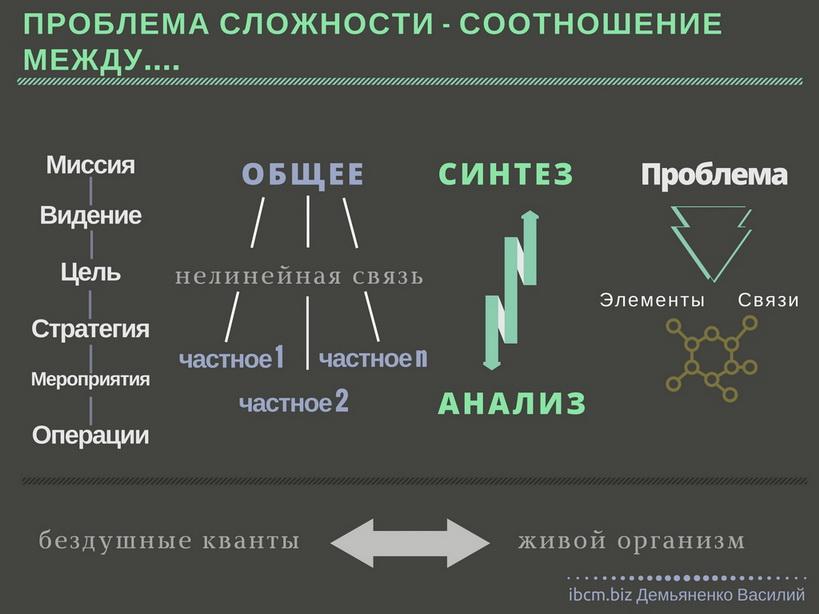 проблема сложности между общим и частным, синтезом и анализом в управлении организацией